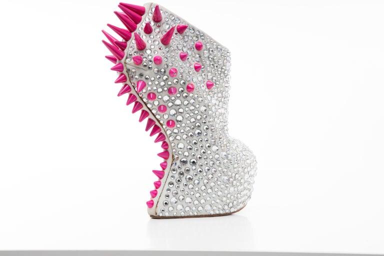 Guiseppe Zanotti Swarovski Crystal & Pink Spiked-Embellished Wedges Fall 2012 For Sale 4