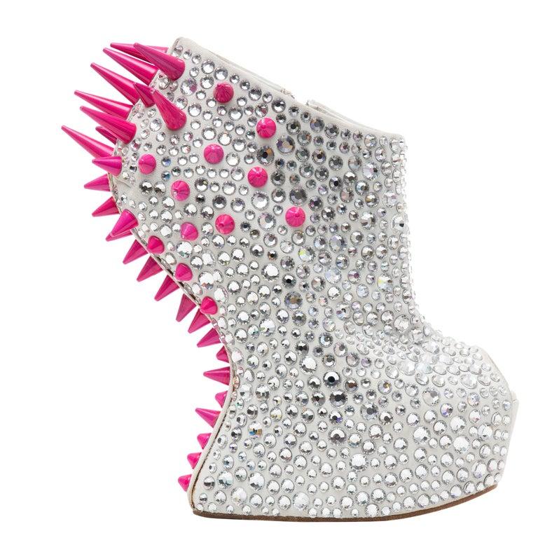 Guiseppe Zanotti Swarovski Crystal & Pink Spiked-Embellished Wedges Fall 2012 For Sale