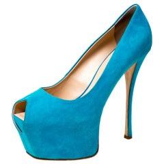 Guisuppe Zanotti Blue Suede Liza Peep Toe Platform Pumps Size 40