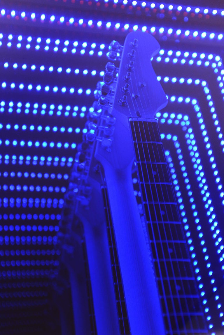 Hand-Crafted Guitar Infiny Wall Decoration Mirror with Led Lights For Sale