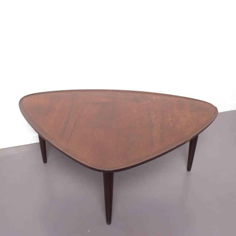 mid century modern guitar pick danish brown teak coffee table 1960 for sale at 1stdibs. Black Bedroom Furniture Sets. Home Design Ideas