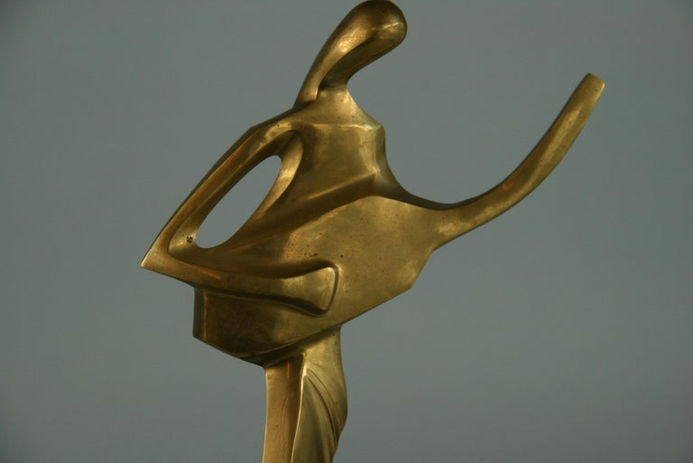 Guitar Player Brass Figurative Abstract Sculpture In Good Condition For Sale In Douglas Manor, NY