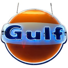Gulf Oil Gasoline Animated Neon Sign, 1960s