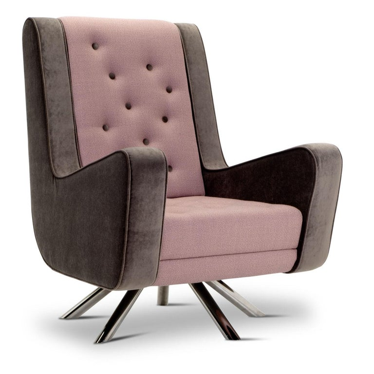 Italian Gulp Armchair by Simone Micheli in Pink and Brown For Sale