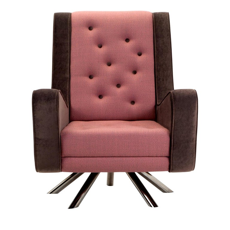 Gulp Armchair by Simone Micheli in Pink and Brown For Sale