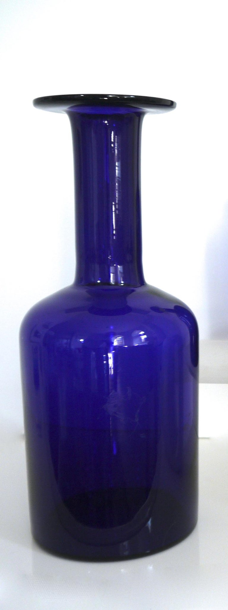 Art Glass Gulvases Blue Design 1962 by Otto Brauer Based on Per Lutkens Version from 1958 For Sale