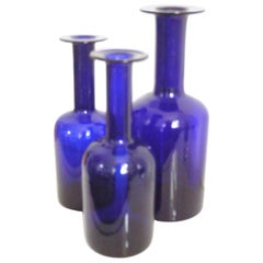 Gulvases Blue Design 1962 by Otto Brauer Based on Per Lutkens Version from 1958