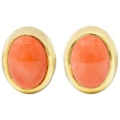 Gump's 1960s Vintage Coral Cabochon 18 Karat Gold Earrings