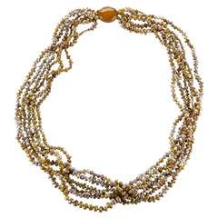 Gump's Biwa Pearl and Jadeite Necklace in Golden Bronze