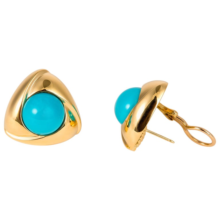 Gump's Bold Turquoise and Gold Earrings For Sale