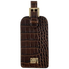 GUMP'S Embossed Alligator Brown Leather Luggage Tags