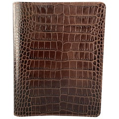 GUMP'S Embossed Brown Leather Book Case / Writing Folder