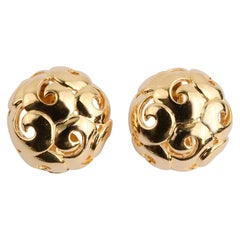 Gumps Gold Dome Earrings with Circular Design