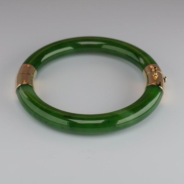 Modern Gump's Jade Bangle Green Nephrite For Sale