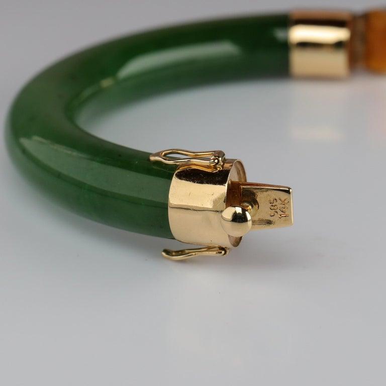 Women's or Men's Gump's Jade Bangle Green Nephrite For Sale