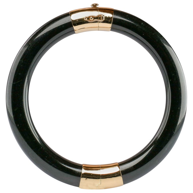 Gump's Jade Bangle in Black Nephrite For Sale