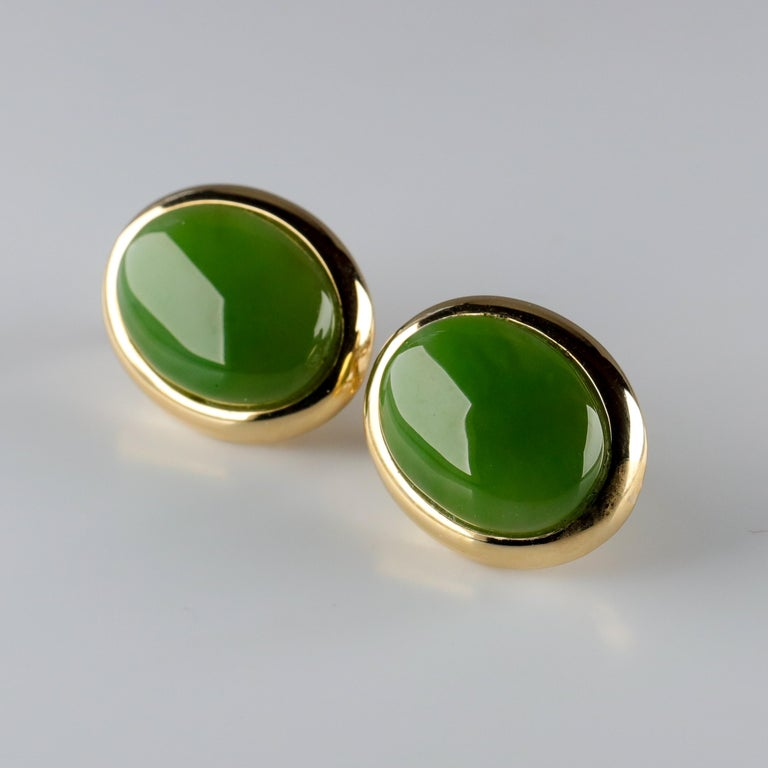 Gump's Jade Earrings in Gold, circa 1990s For Sale 1
