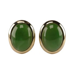 Gump's Jade Earrings in Gold, circa 1990s
