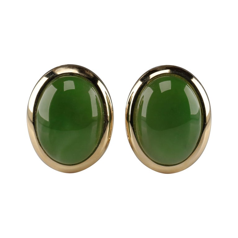 Gump's Jade Earrings in Gold, circa 1990s For Sale