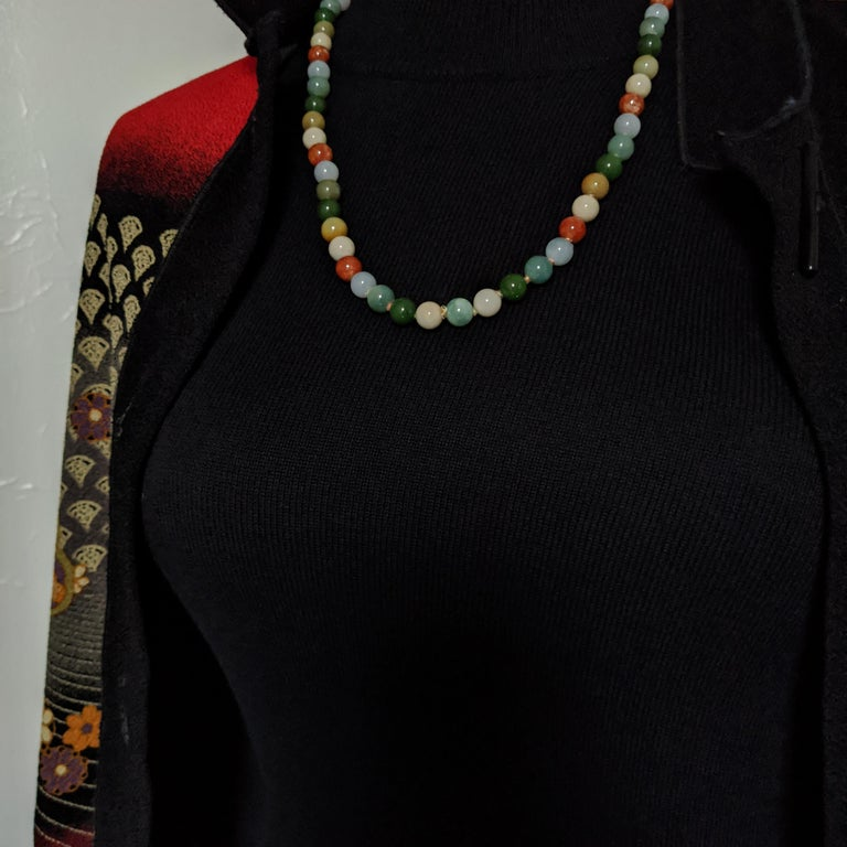 Statement Necklace in Jade and Gold by Gump's San Francisco, Midcentury For Sale 8