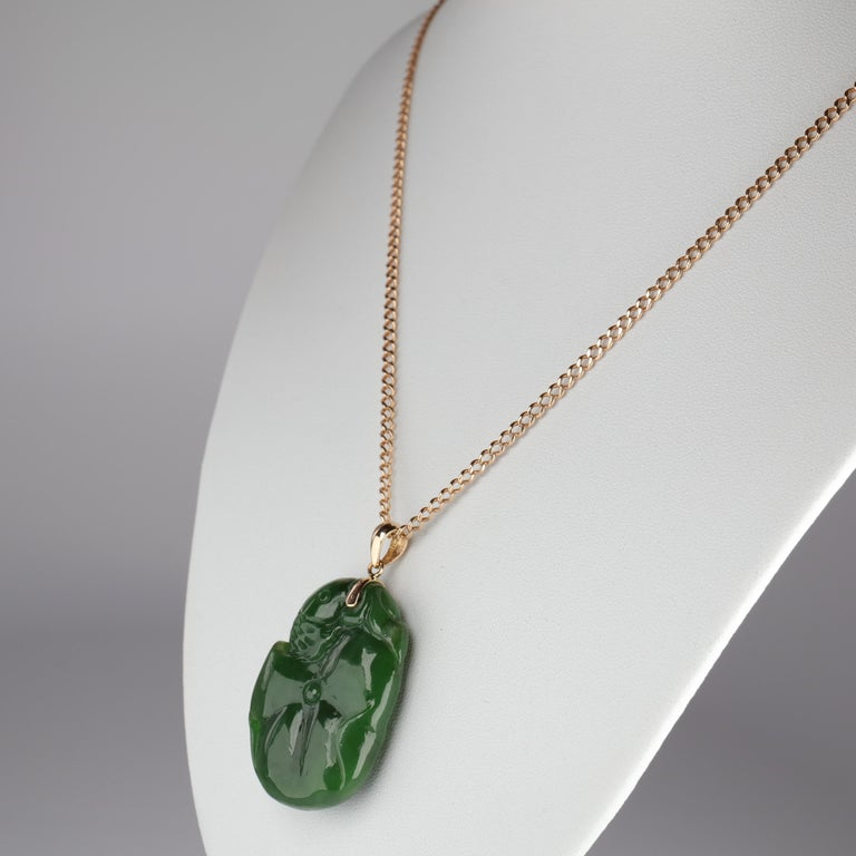 Gump's Jade Pendant Koi Fish In Excellent Condition For Sale In Southbury, CT
