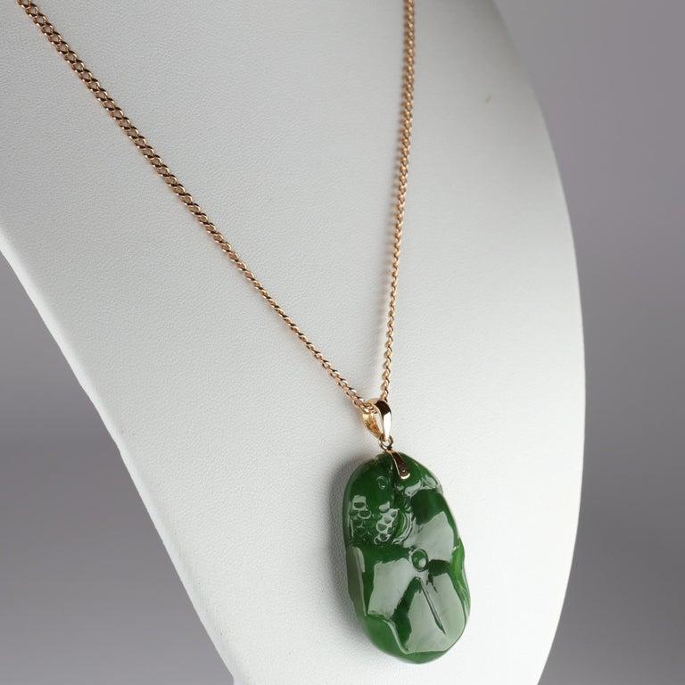 Women's or Men's Gump's Jade Pendant Koi Fish For Sale