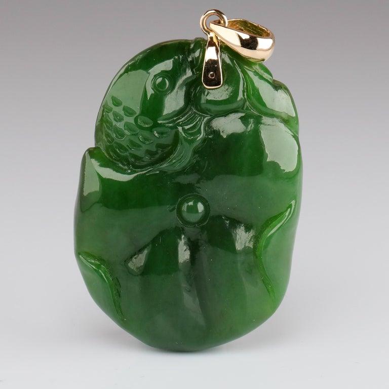 Gump's Jade Pendant Koi Fish For Sale 1