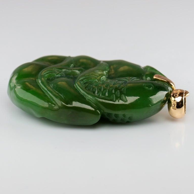 Gump's Jade Pendant Koi Fish For Sale 3