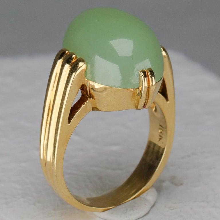 Gump's Jade Ring Rare Art Deco Design 6