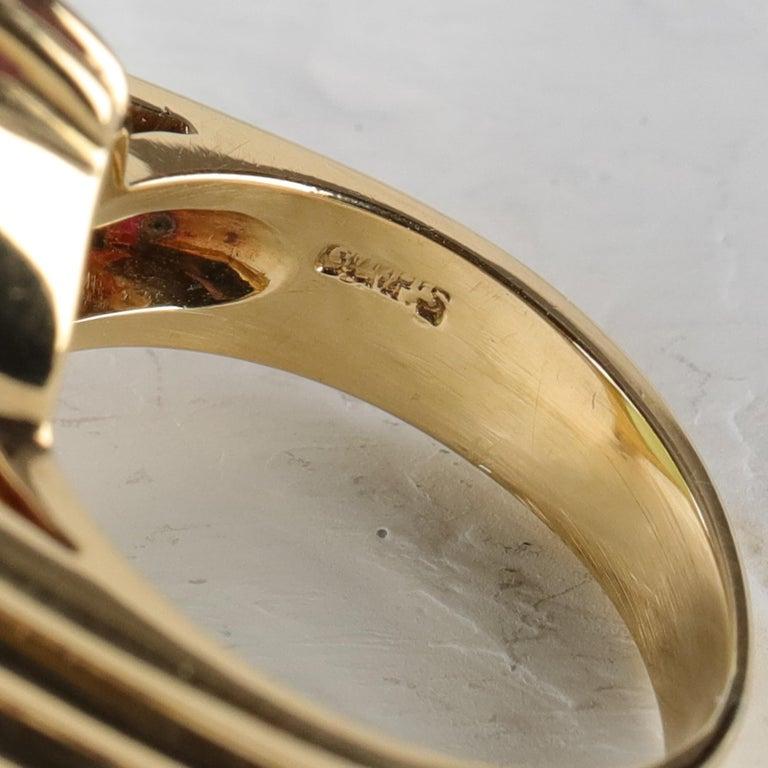 Gump's Jade Ring Rare Art Deco Design 7