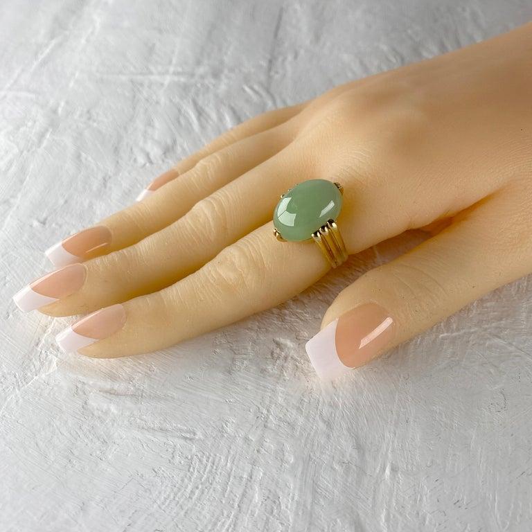 Gump's Jade Ring Rare Art Deco Design 10