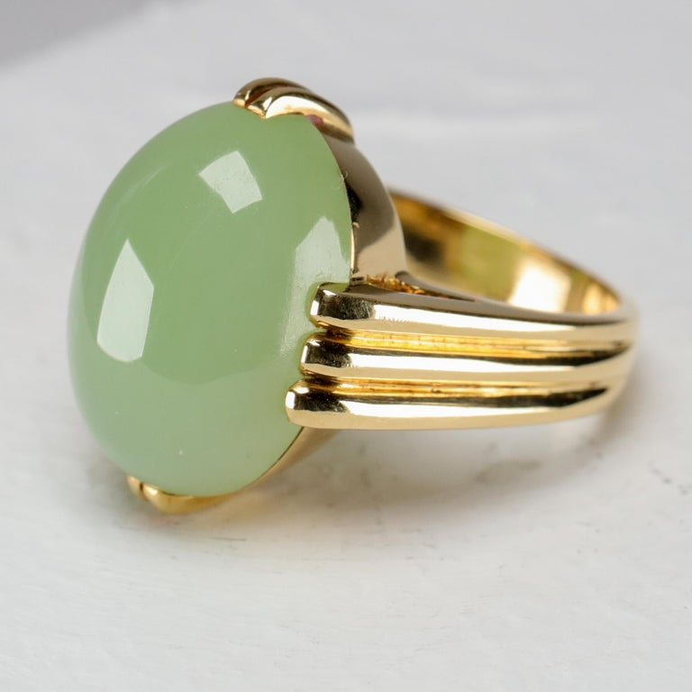 Modern Gump's Jade Ring Rare Art Deco Design