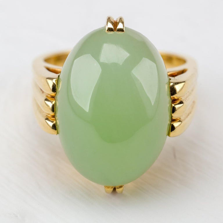 Gump's Jade Ring Rare Art Deco Design 2