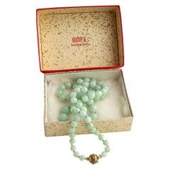 Gump's Jadeite Jade Necklace in Original Box