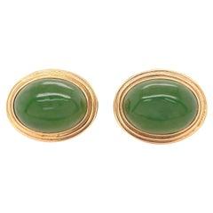 Gumps Pair of Vintage Jadeite Jade 14 Karat Gold Earrings