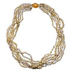 Gump's Pearl & Jade Torsade Necklace