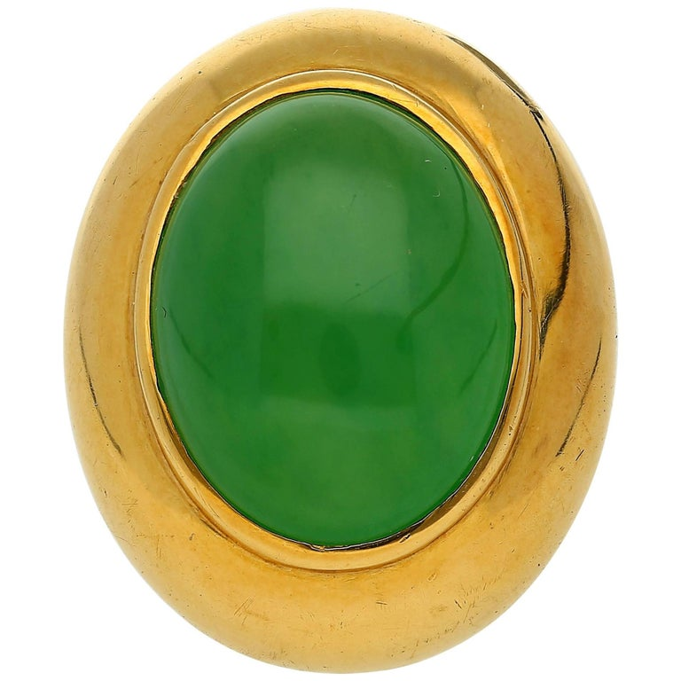 Gumps San Francisco Jadeite Type A Jade Gold Ring  For Sale