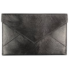 GUMP'S Textured Embossed Pattern Black Leather Rectangle Envelope Wallet