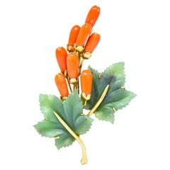 Gumps Vintage Coral Jade 14 Karat Yellow Gold Floral Brooch