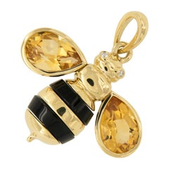 Gumuchian 18 Karat Yellow Gold Citrine Diamond Honeybee B Pendant Charm