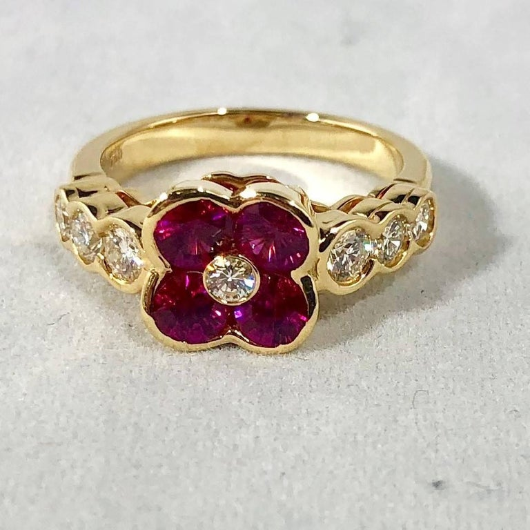 Modern Gumuchian 18 Karat Yellow Gold Diamond and Ruby Flower Cocktail Ring For Sale