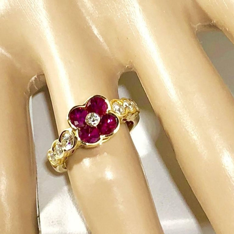Round Cut Gumuchian 18 Karat Yellow Gold Diamond and Ruby Flower Cocktail Ring For Sale
