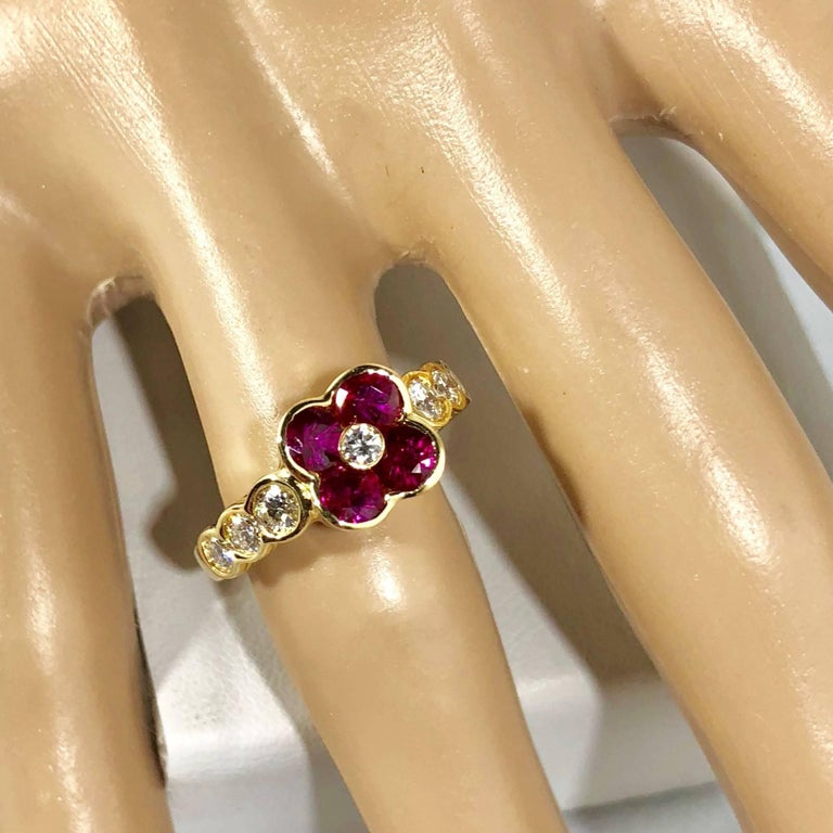 Gumuchian 18 Karat Yellow Gold Diamond and Ruby Flower Cocktail Ring In New Condition For Sale In Mansfield, OH