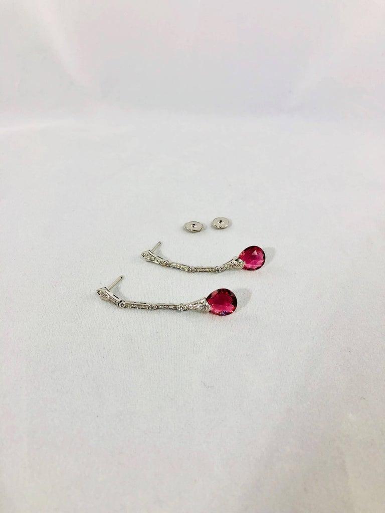 Gumuchian Diamond Pink Tourmaline Stiletto Earrings For Sale 4