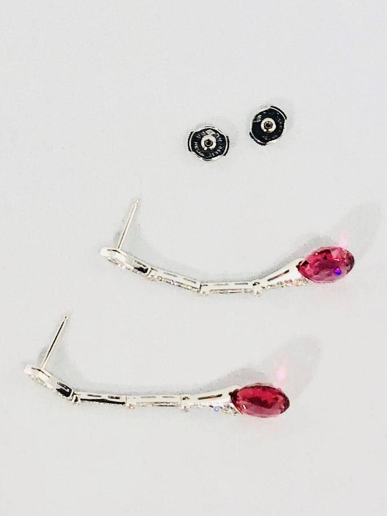 Gumuchian Diamond Pink Tourmaline Stiletto Earrings For Sale 5