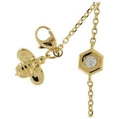 "Gumuchian Gold Honeybee ""B"" Honeycomb Motif Bracelet"