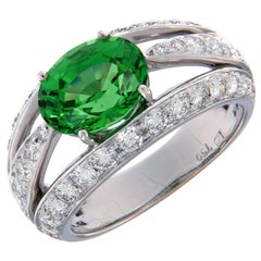 Gumuchian Tsavorite Diamond Gold Luna Ring