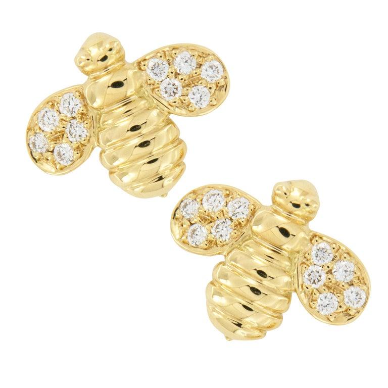 Gumuchian Worker Bee 18 Karat Gold and Diamond Earrings For Sale