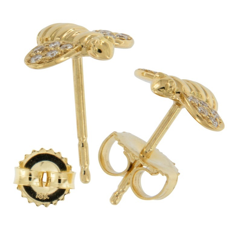 Round Cut Gumuchian Worker Bee 18 Karat Gold and Diamond Earrings For Sale