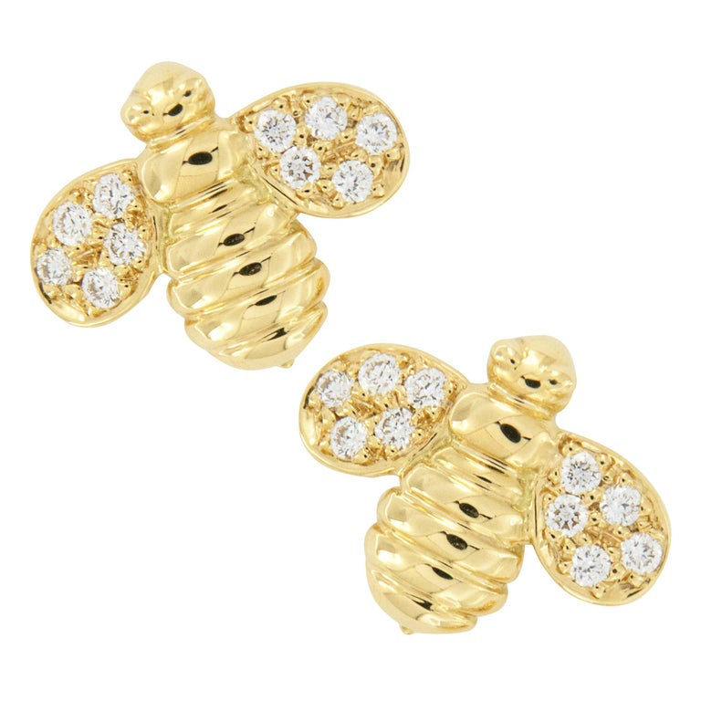 Gumuchian Worker Bee 18 Karat Yellow Gold and Diamond Earrings For Sale
